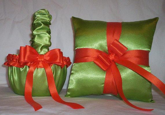 زفاف - Lime Green Satin With Orange Trim Flower Girl Basket And Ring Bearer Pillow