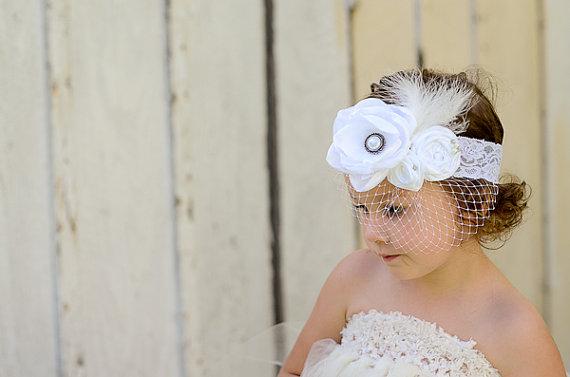 زفاف - White Flower Girl Headband, Pearl Brooch, Feathers, Lace, Russian Veil, Custom