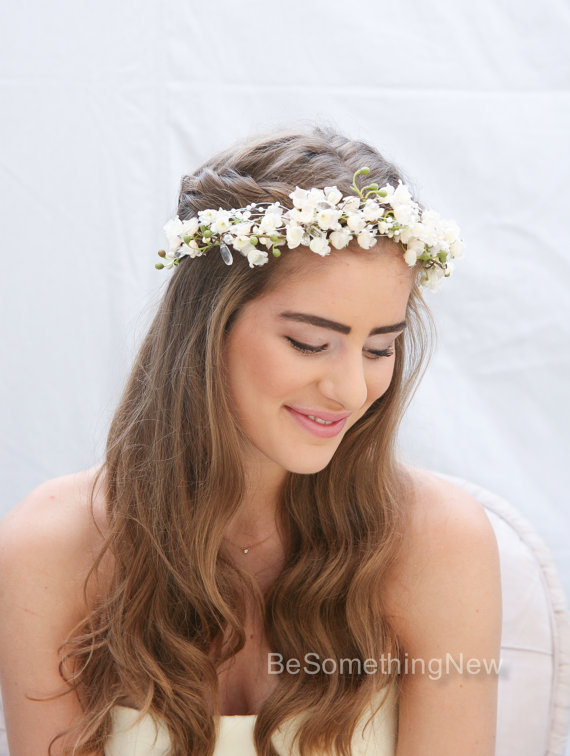 Свадьба - Bohemian Flower Crown of Ivory Lily of the Valley Pearls and Crystals Boho Wedding Floral Halo Wreath Ribbon Tie Bridal Woodland Wedding