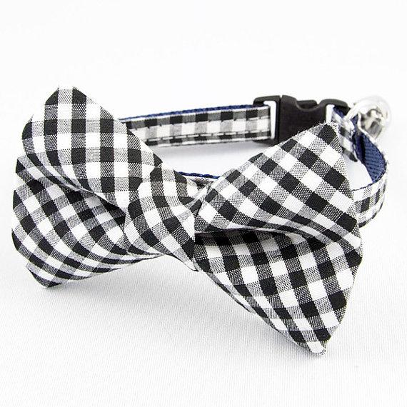 زفاف - Black Gingham Bow Tie Cat Collar