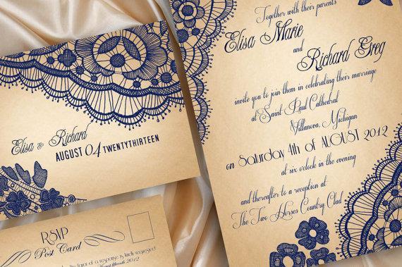 زفاف - PRINTABLE WEDDING INVITATIONS Lace - Bellevue Suite