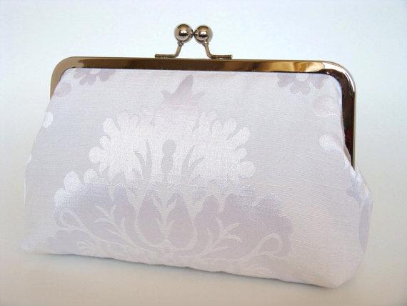 Mariage - Damask Brides Clutch,Bridal Accessories,Bridal Clutch,Clutch,Formal,Wedding Purse,Bridesmaid Gifts