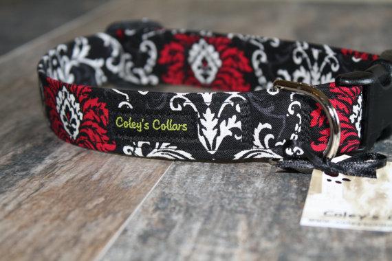 "Mariage - Pink Black and Ivory Damask Dog Collar ""Damask"" Custom Dog Collar"