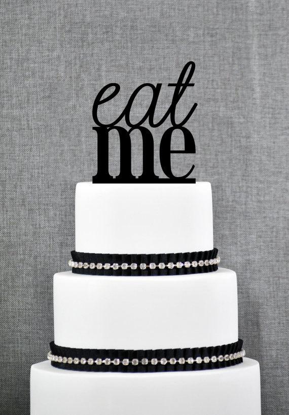 زفاف - Eat Me Cake Topper in your Choice of Colors, Funny Wedding Cake Topper, Modern Wedding Cake Topper, Unique Cake Topper- (S081)