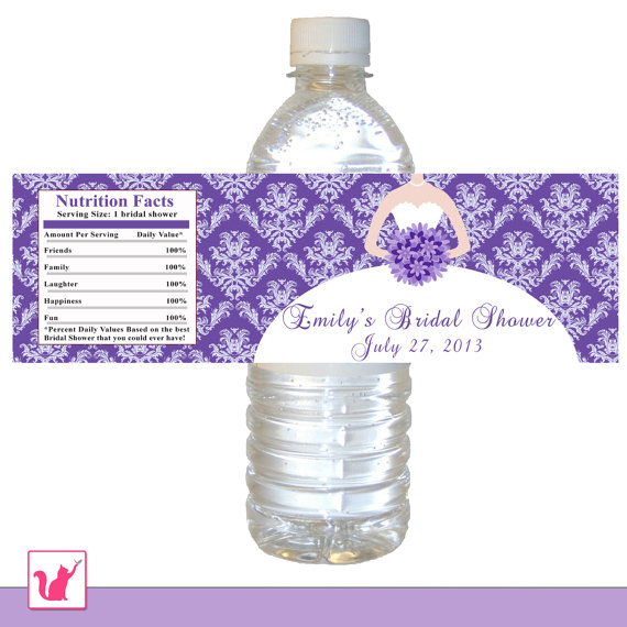 printable personalized purple damask bridal shower water bottle label wrappers bouquet bride birthday party quinceanera sweet 16 wraps
