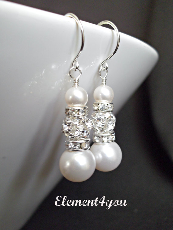 Mariage - EARRINGS - Bridal Earrings Bridal Jewelry Bridesmaids Gift Wedding Bridal Party Gift Bridesmaids Jewelry Ivory White Champagne Pearl
