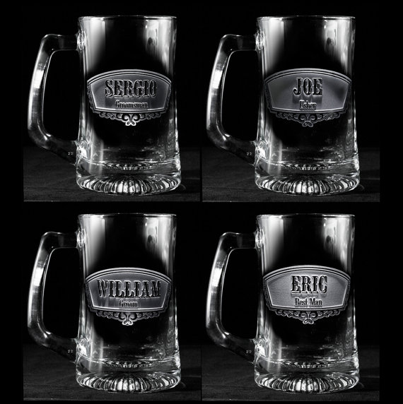 Hochzeit - Groomsmen Gifts, Engraved Best Man, Groomsman Beer Mugs, Set of 9