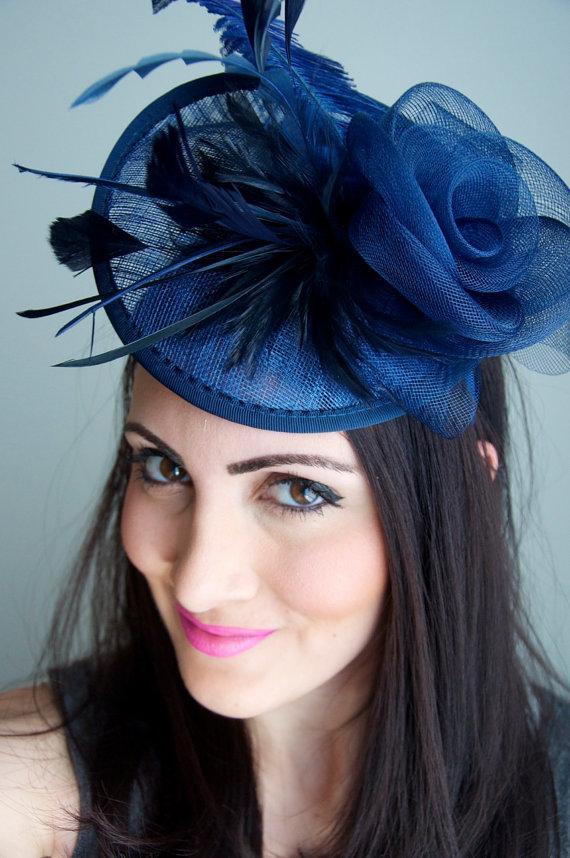 "Hochzeit - Navy Blue Fascinator - ""Kate"" Mesh Couture English Hat Fascinator Headband"