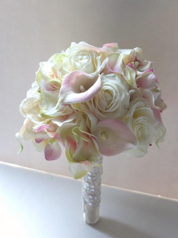 Hochzeit - Blush Pink Calla Lily & Hydrangeabouquet, Bridal Bouquet, wedding bouquet