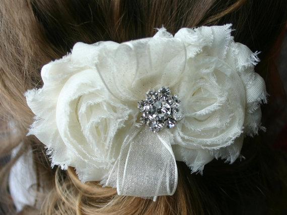 Wedding - Flower Girls Hair Clip or Headband in White or Ivory, First Communion, Vintage Bridal Headpiece