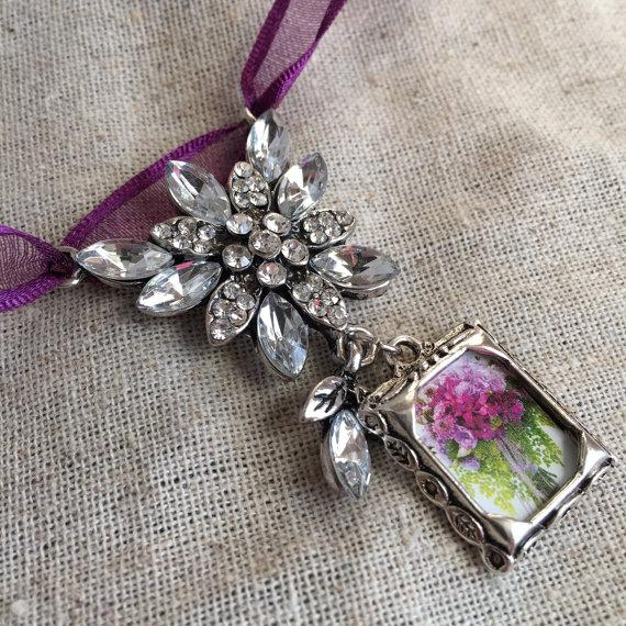Mariage - Wedding Bouquet Photo Charm - Jewel Encrusted Flower