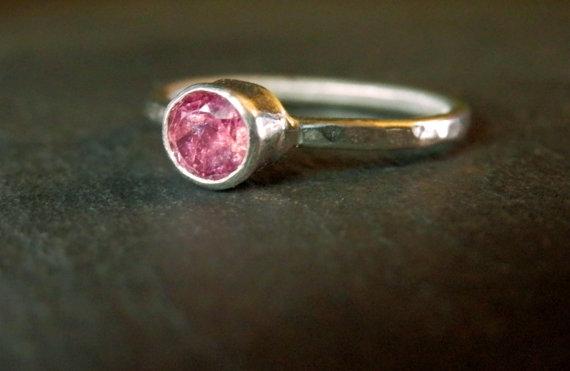 زفاف - Custom pink tourmaline ring / made to order sterling silver and tourmaline ring / pink engagement ring / pink princess ring