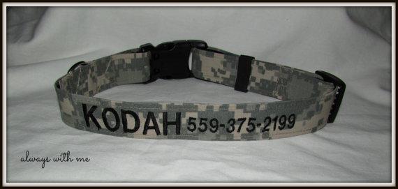 Свадьба - Army ACU/Multicam Dog Collar - Adjustable - Personalized - military camo, Marines/Navy/Army/CG/USAF - petlover! Big or small dogs!