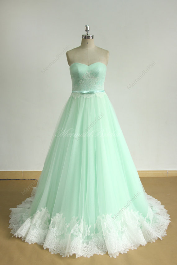 Mint Green A Line Tulle Lace Wedding Dress
