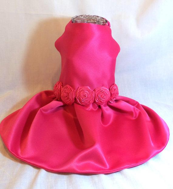زفاف - Dog Clothes Small Dog Satin Dog Dress with Ribbon Roses for Bridesmaid pet clothing dog clothing dog apparel