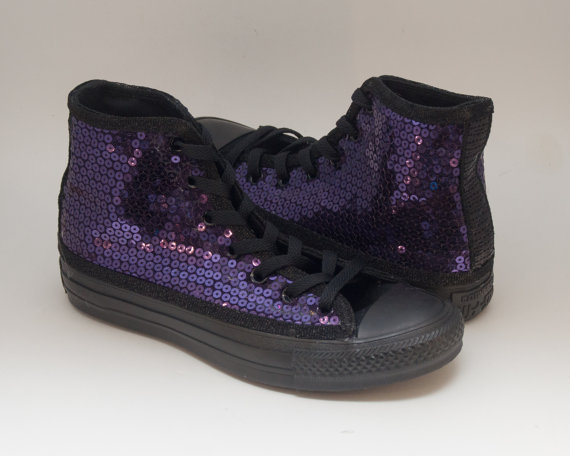 ce92c720d643 Ready to Ship WMNS Size 6.5 Sequin Dark Purple on All Black Converse Hi Top  Sneakers Shoes