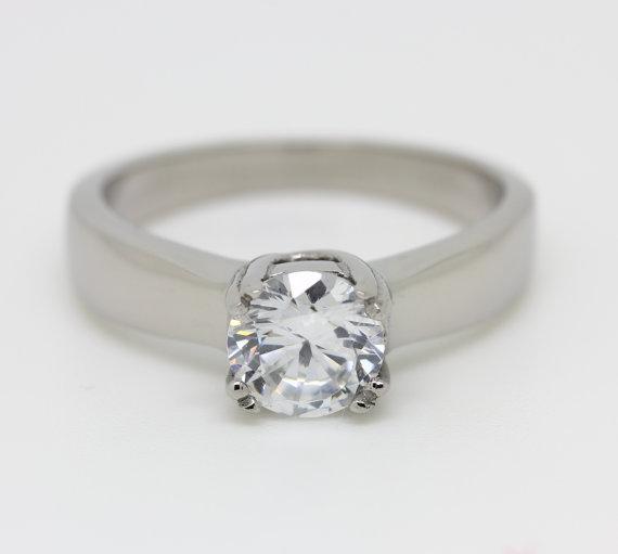 Wedding - Lab Diamond Solitaire ring in Titanium or White Gold - engagement ring - wedding ring - handmade ring
