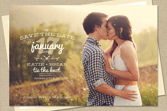 Mariage - Photo Save-The-Date Postcard or Magnet - Thyme