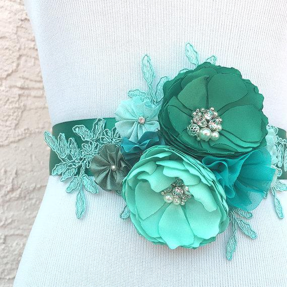 Hochzeit - Jade Mint Sea Foam Green Blue Flowers with Swarovski Sew on Crystals & Pearls Sash for a Bride, Bridesmaid Special Event