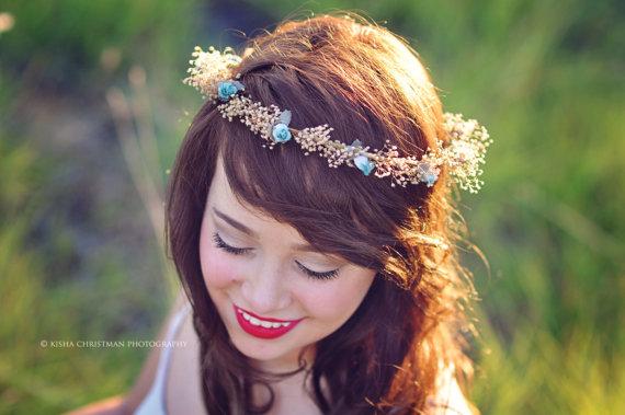 Hochzeit - Rustic dried hair wreath aqua teal boho halo preserved babys breath twine silk Flower girl Woodland crown bridal party Wedding Accessories