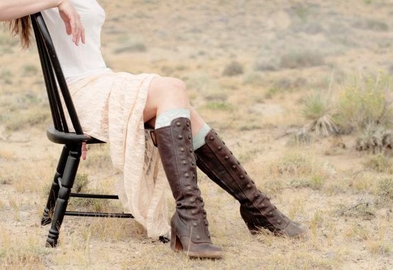Mariage - Lace Boot Cuffs, Mint Boot Topper Socks, Boho Accessories, Green Women Faux Leg Warmers, Knee High Shoe Accessory, Women's Bridal Wedding