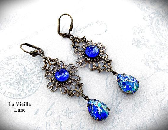 Hochzeit - Sapphire Opal Victorian Flower Earrings, Victorian Jewelry
