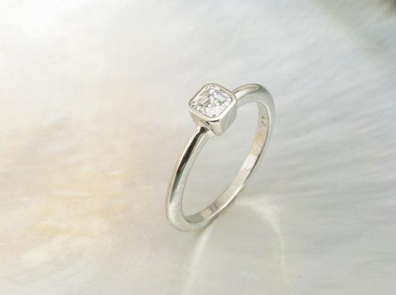 زفاف - modern asscher engagement ring -- handmade engagement ring with asscher cut solitaire in white gold bezel