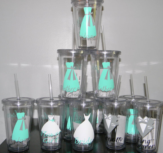 Mariage - Wedding Tumblers Bridal party gift Tumblers Set of 11 -   Flower Girl Ring Bearer- Any Color Any Design Custom