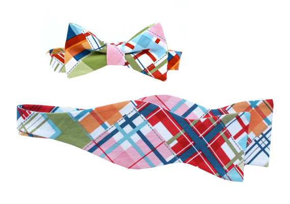 Mariage - Father Son Bow Tie Sets - Madras Plaid
