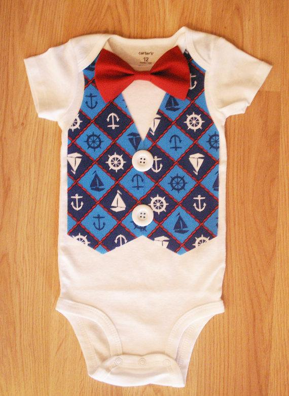 Mariage - Anchor fabric outfit Baby coming home outfit Anchor Tuxedo Bodysuit Vest Baby tuxedo Summer outfit for boys Nautical outfit  Anchor bodysuit