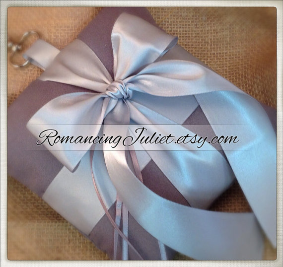 زفاف - Pet Ring Bearer Pillow...Made in your custom wedding colors...shown in charcoal/silver gray