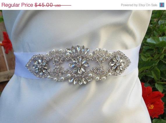 Mariage - ON SALE Crystal Bridal Belt, BENTLEY, Wedding Belt, Bridal Sash, Rhinestone Belt, Pearl Bridal Belt, Pearl Belt, Wedding Sash