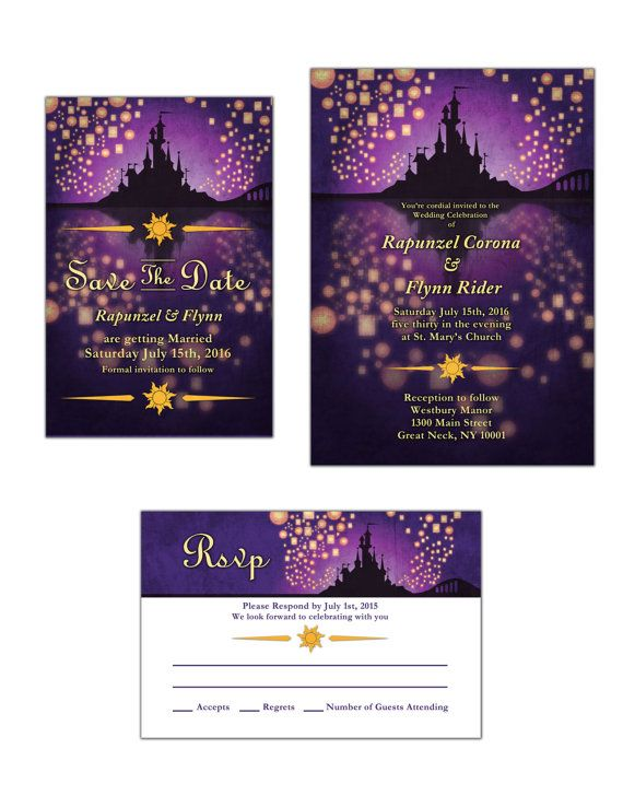 Tangled Inspired Wedding Invitation Save The Date Or