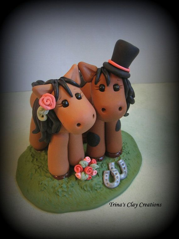 Свадьба - Wedding Cake Topper, Horse, Animal, Pony - Custom Cake Topper, Polymer Clay, Personalized Wedding/Anniversary Keepsake