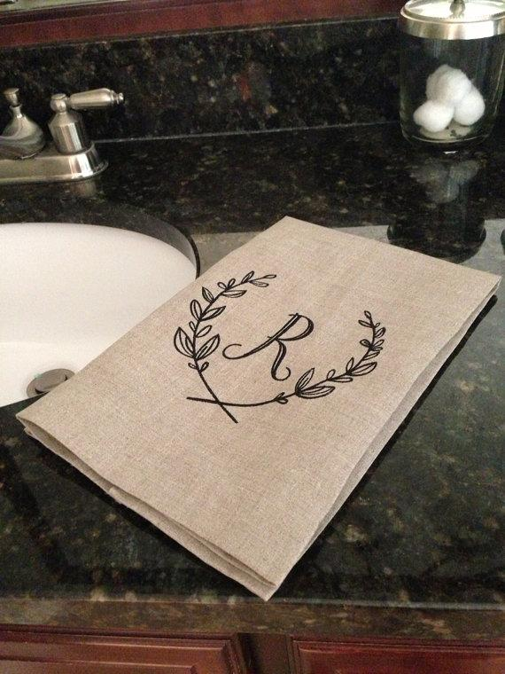 Свадьба - Monogram Hand Towel Natural Linen Guest Towel Initial Personalized Any Color Letter Great Hostess Bridesmaid Wedding Gift