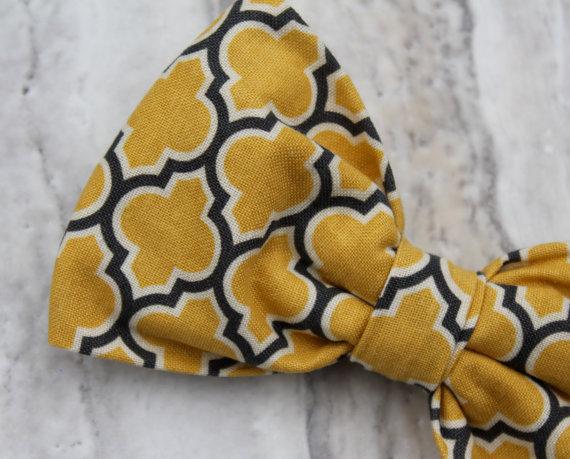 Свадьба - Yellow and Gray Lattice Bow Tie for Men