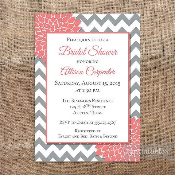grey coral bridal shower invitation printable grey chevron and coral mum bridal invite wedding shower invitation - Coral And Grey Wedding Invitations