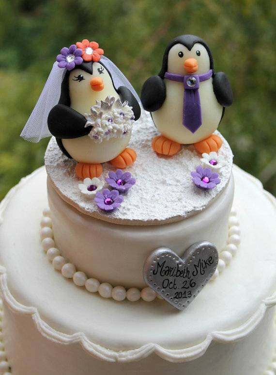 Penguin Wedding Cake Topper, Love Birds With Snow Base And Banner ...