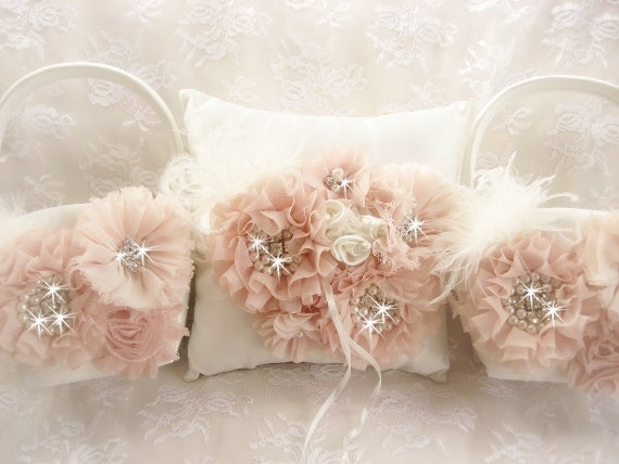 Hochzeit - Blush Baskets Ring Bearer Pillow and 2 Flower Girl Baskets Blush and Cream Flower Girl Basket Set Wedding Pillow