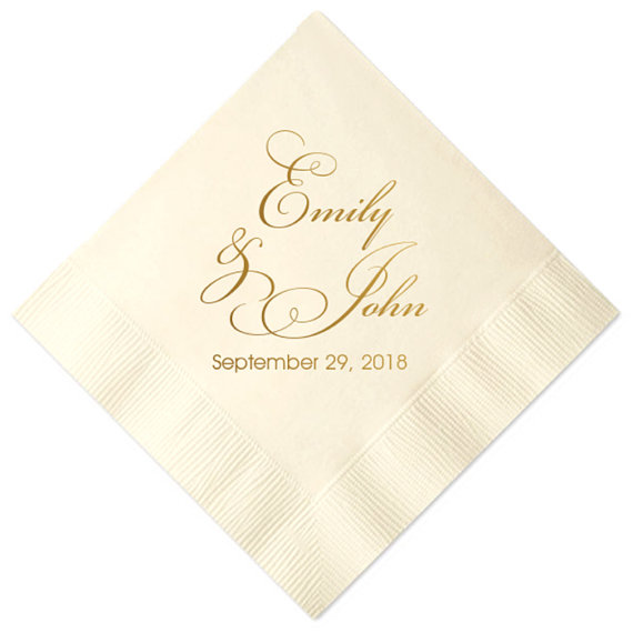 زفاف - 100 pcs Personalized Script Wedding Napkins