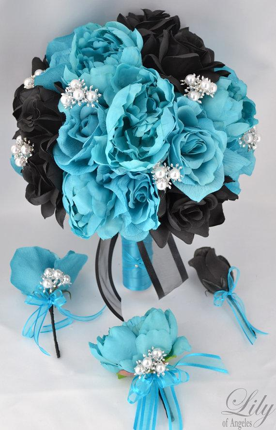 """Свадьба - 17 Piece Package Wedding Bridal Bride Maid Of Honor Bridesmaid Bouquet Boutonniere Corsage Silk Flower TURQUOISE BLACK """"Lily Of Angeles"""""""
