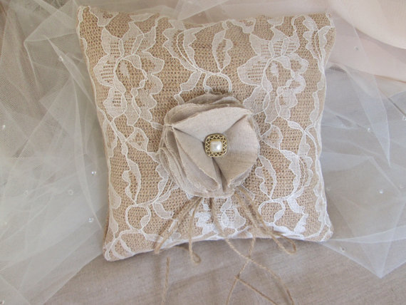 Wedding - Burlap and lace ring bearer pillow, Vintage style rustic, barn country wedding pillow