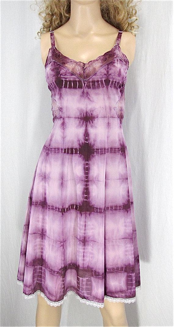Wedding - Hand Dyed Slip Dress 36 MEDIUM Shibori Dyed Lingerie Tie Dye Hippie Sundress Festival Clothing Sexy Nightgown Plum Purple Vintage Lingerie