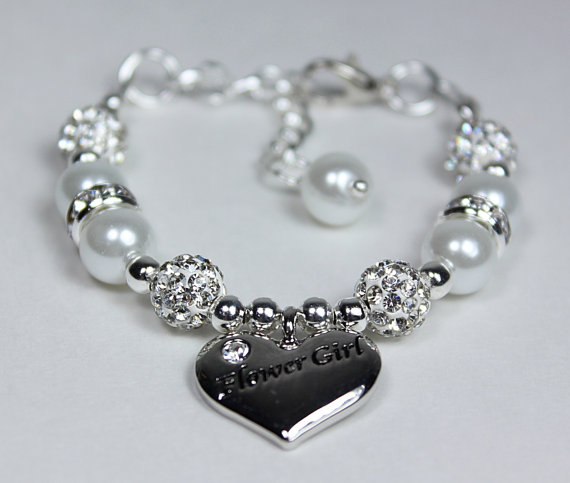 Свадьба - Flowergirl Bracelet Pearl Charm Bracelet, Girls Wedding Jewelry, Flowergirl Gifts, Flowergirl Bracelet Pick Your Own Color