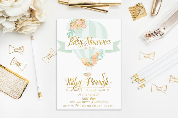 Hot air balloon invitation baby shower mint peach gold foil flowers hot air balloon invitation baby shower mint peach gold foil flowers digital personalised bachelorette wedding birthday party 5x7 inches filmwisefo Image collections