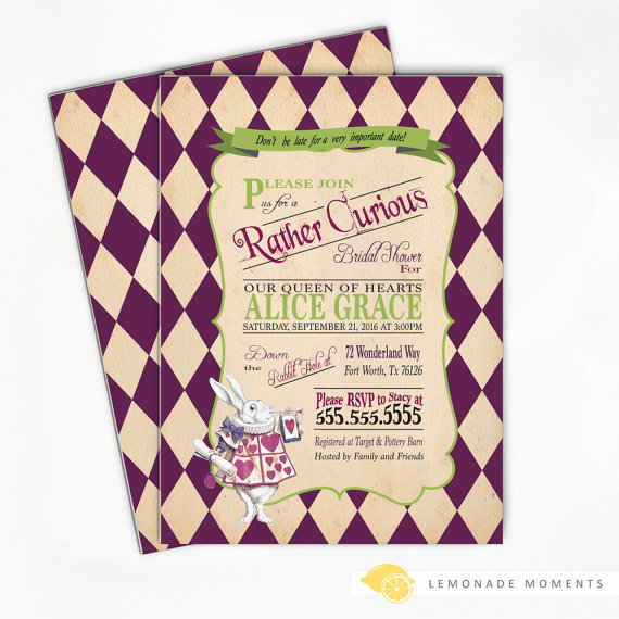 Alice in wonderland bridal shower invitation mad hatter tea party alice in wonderland bridal shower invitation mad hatter tea party printable or print purple baby shower filmwisefo