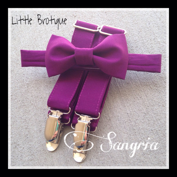 Свадьба - Sangria Bow Tie and Suspender Set sizes for babies, toddlers, boys, and men.