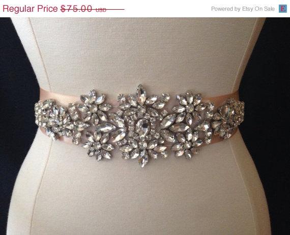 Свадьба - ON SALE Bridal Sash - Wedding Dress Sash Belt - Crystal Rhinestone Wedding Sash - Blush Rhinestone Bridal Sash