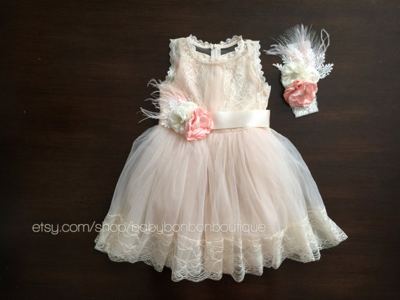 Mariage - baptism dress, christening dress, champagne baby girl dress, creme flower girl dress, christening gown, baby lace dress