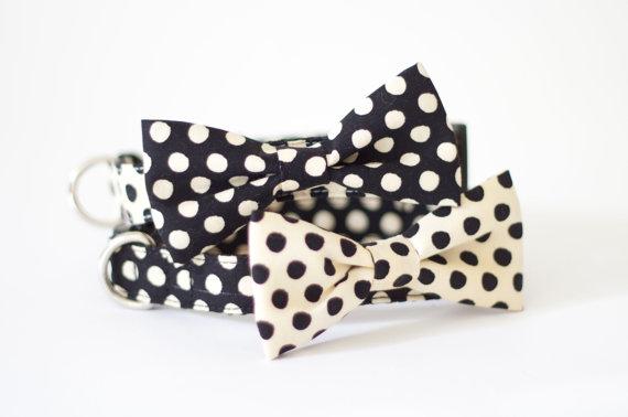 زفاف - 4 colors to choose from! Dog cat pet bow tie collar set Beige Black dot collection
